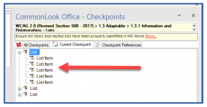 Screenshot of the Lists in CommonLook Office. The first list in the panel is expanded to show the List Items inside.