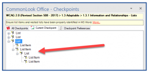 Screenshot of the CommonLook Office panel with the third list fully expanded to reveal the nested list and its two list items.