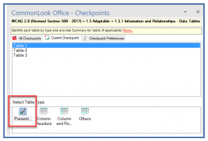 """Screenshot of the Tables checkpoint in CommonLook Office. The first table in the list is selected and the """"Presentation"""" type is highlighted."""
