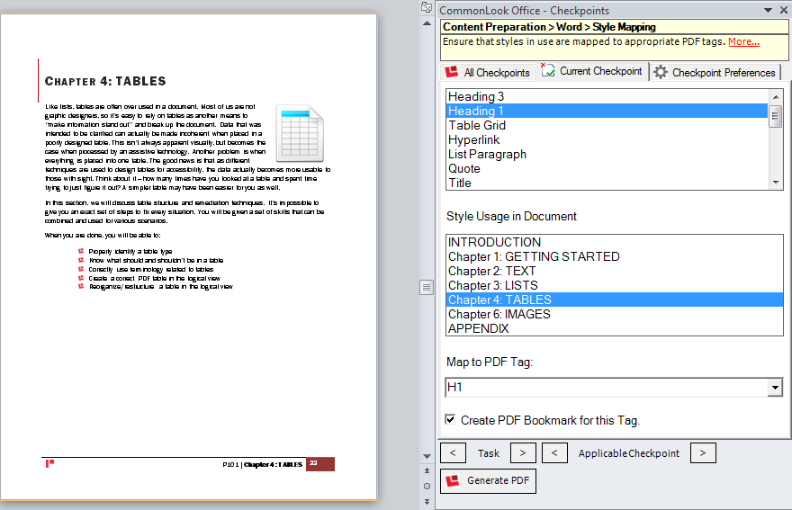 Screenshot of the CommonLook Office Style Mapping Checkpoint.