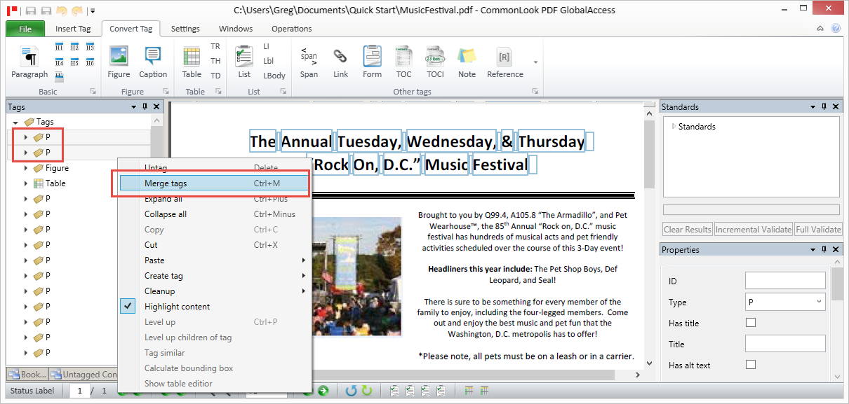 Screen shot showing two paragraph tags selected in the tag tree and the context menu open with the option to merge tags.