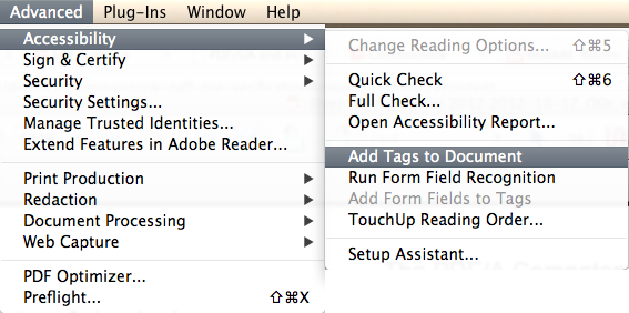 Acrobat 9 Add Tags.