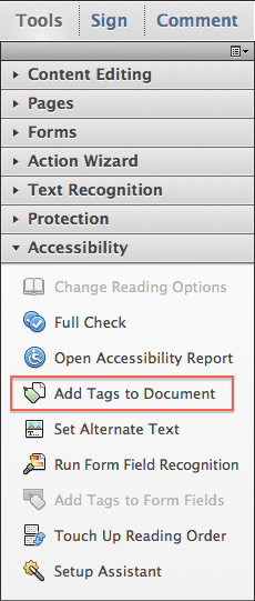 Acrobat XI add tags.