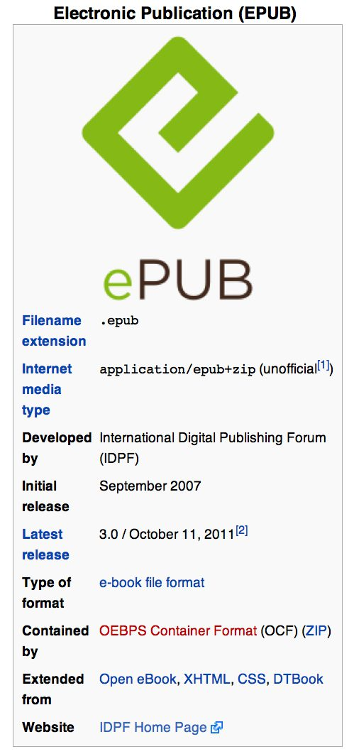 EPUB logo and Wikipedia entry.