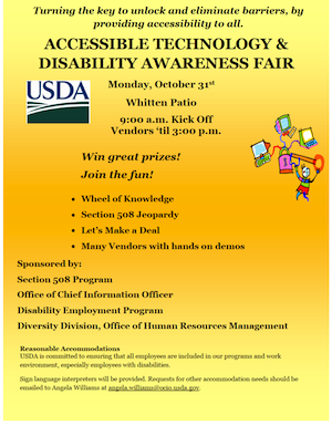 Promotional poster for the Accessible Technology & Disability Awareness Fair. All text provided on the page.