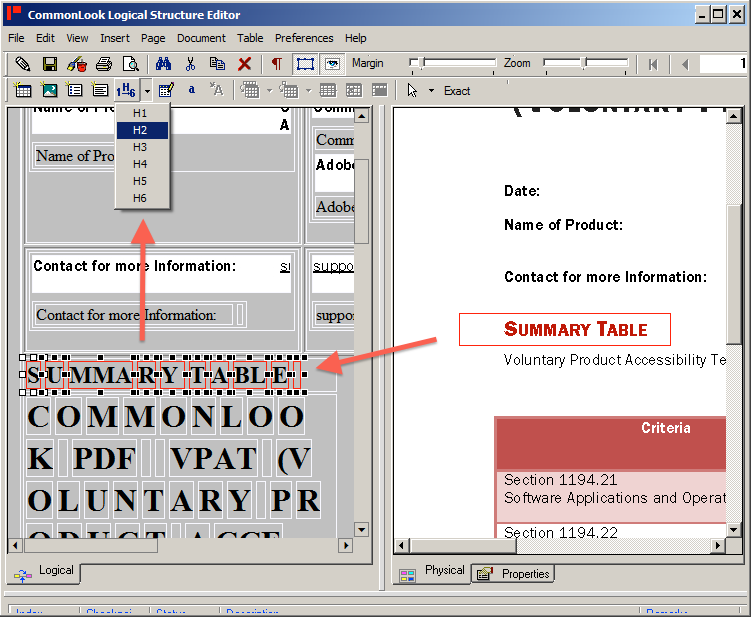 Screen shot showing the logical structure editor. A heading is selected in the physical view, the logical view is also highlighted. An arrow indicates the user selecting an H2 tag.