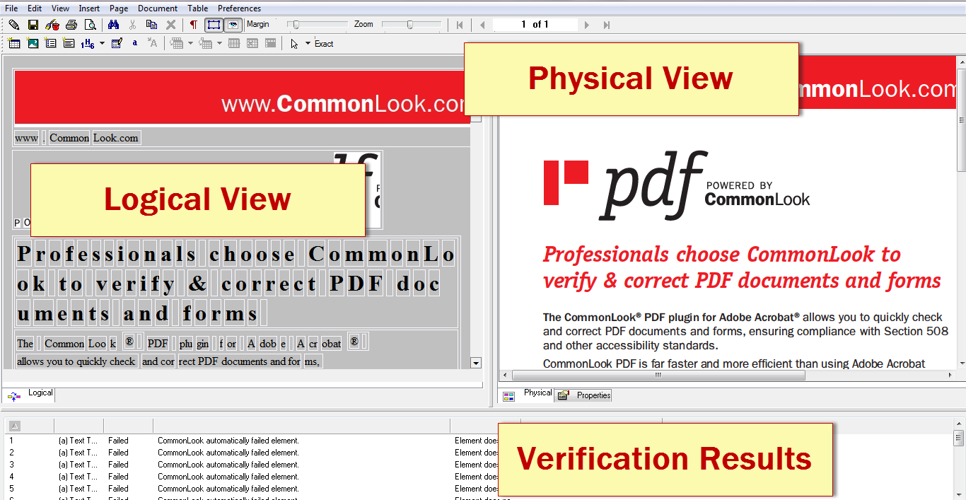 Screen shot of the CommonLook PDF user interface.