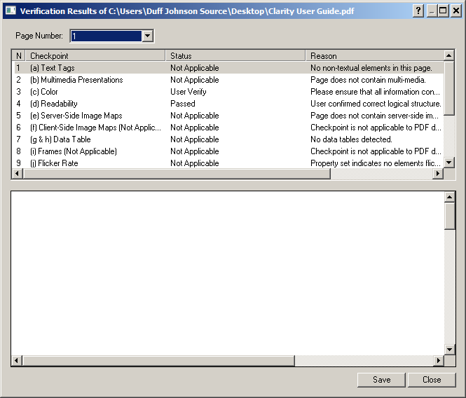 Verification results dialog.
