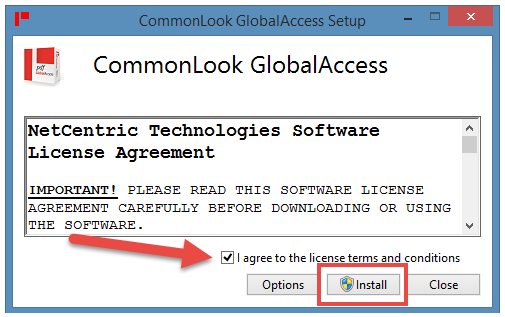 The CommonLook PDF Global Access License Agreement dialog window. The checkbox indicating agreement to licensing terms is checked and the Install button is highlighted.
