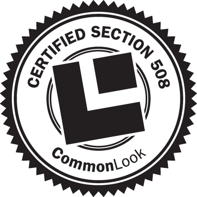 Certified Section 508 by CommonLook seal.