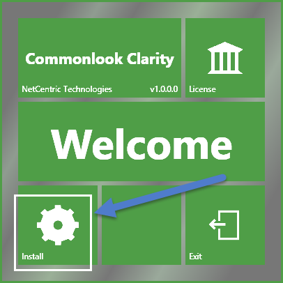 The CommonLook Clarity installation splash screen. The Install button on the lower left corner is highlighted.