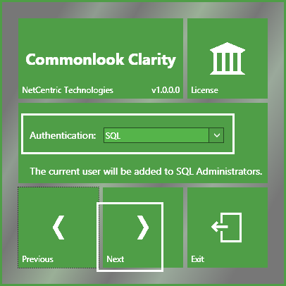 The Authentication screen is shown and the SQL option is shown in the menu.