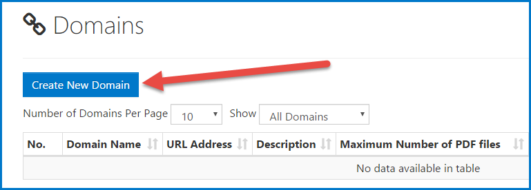 """The """"Create New Domain"""" button on the Domains screen."""