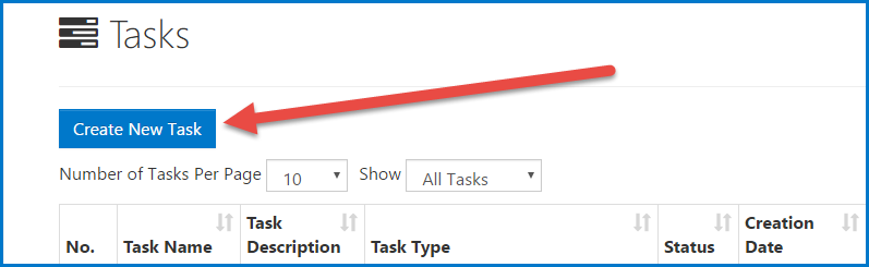 The Create New Task button is highlighted on the Tasks screen.