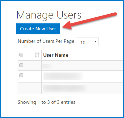 "The ""Create New User"" button on the Manage Users screen."