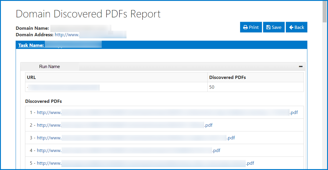 The Domain Discovered PDF Report showing the information as described in the preceding paragraph.