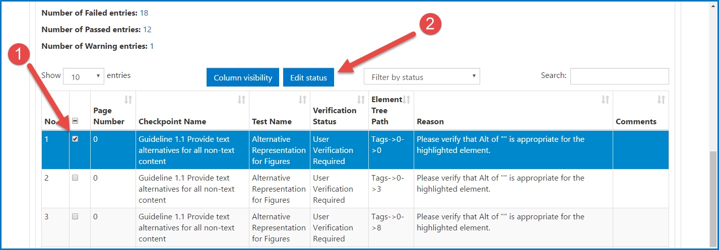 The table in the File Compliance Report is shown, a checkpoint for User Verification is selected, and the Edit Status button is highlighted.