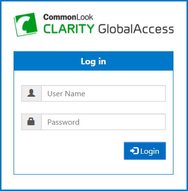 The Login Screen for CommonLook Clarity GlobalAccess
