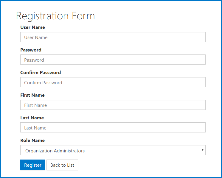 The New User Registration Form.