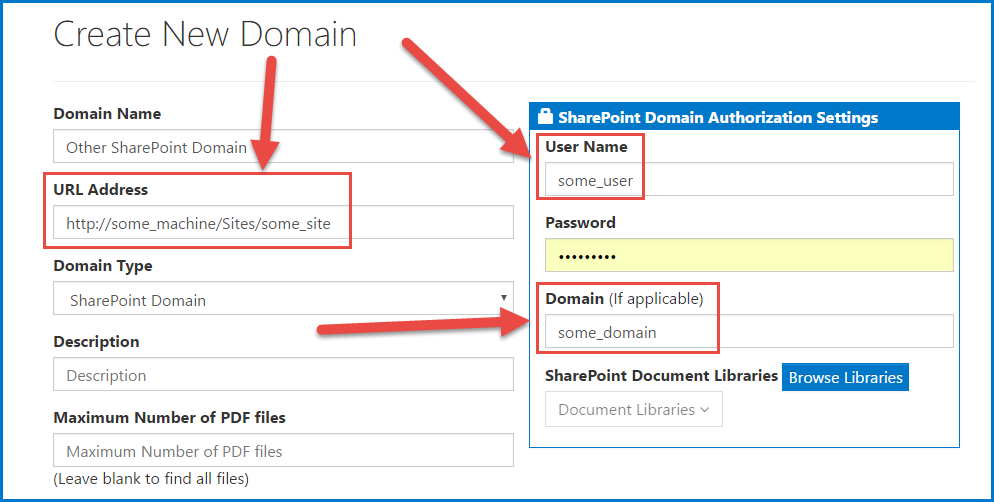 """The Create Domain screen for an """"Other"""" SharePoint Domain. The URL, User Name, and Domain fields are highlighted."""