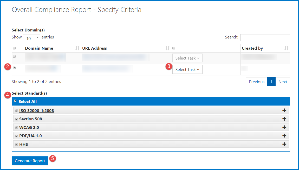 Screenshot of the menu to create an Overall Compliance Report. The steps are numbered in according to their list numbers in the previous list.