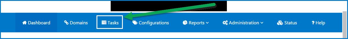 The Tasks tab on the toolbar.