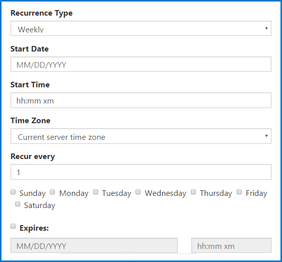 The options to choose when creating a weekly recurring task.