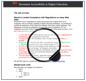 Screenshot of the filter over the Word document showing color removed.