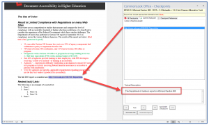 Screenshot of the CommonLook Office panel for Link Alternative text. The link is selected in CommonLook, it's highlighted in the physical view, and the Textual Description has been edited in the CommonLook panel.