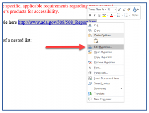 Screenshot of the context menu to edit a hyperlink in MS Word.