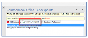 Screenshot of the Current Checkpoint tab in CommonLook Office.