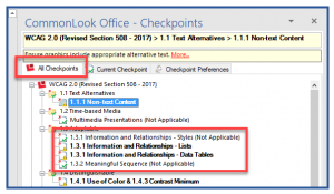 """The """"All Checkpionts"""" tab in CommonLook Office. In the All checkpoints panel, two bolded checkpoints and two others, not in bold and with """"Not Applicable"""" in parentheses, are highlighted."""