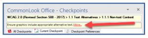 """The yellow box with checkpoint information and the """"More"""" link in CommonLook Office."""