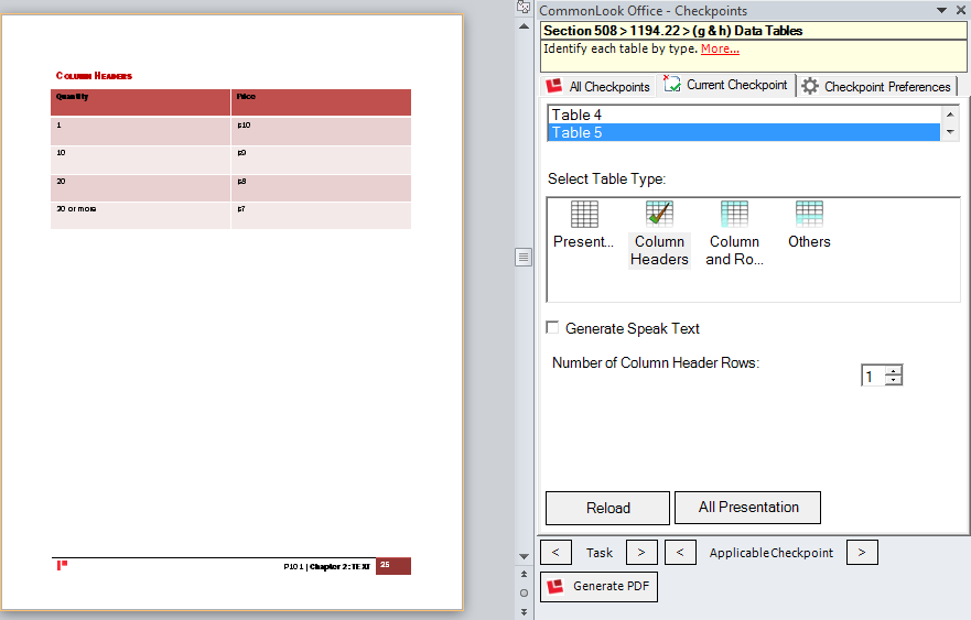 Picture showing a word document containing a Column Header table and the CommonLook Office panel.