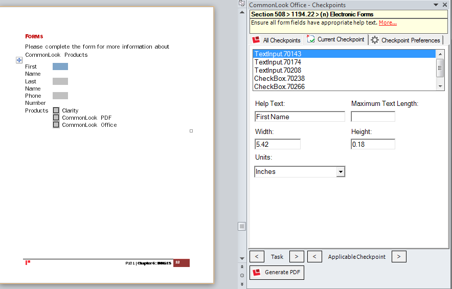 Picture showing a word document with form fields.