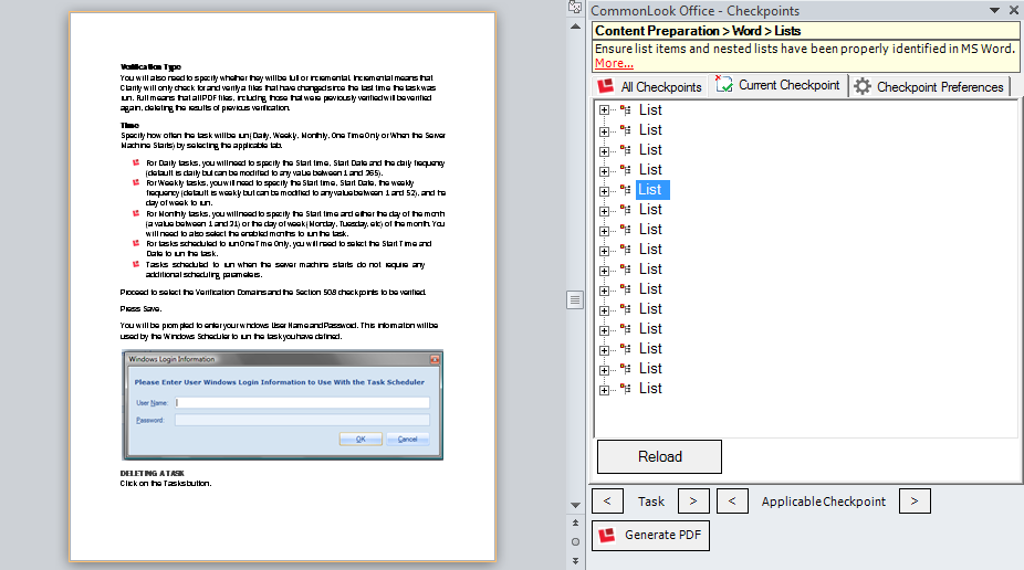 Picture of list in CommonLook Office panel and corresponding list in Word.