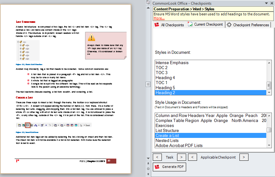 Picture of the CommonLook Office panel displaying a warning that no heading styles are used and and showing the styles used in the Word document and where they are used side by side with the word document.