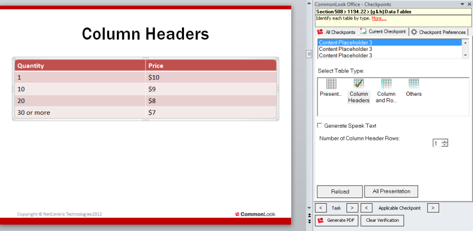 Picture showing a PowerPoint presentation containing a Column Header table and the CommonLook Office panel.