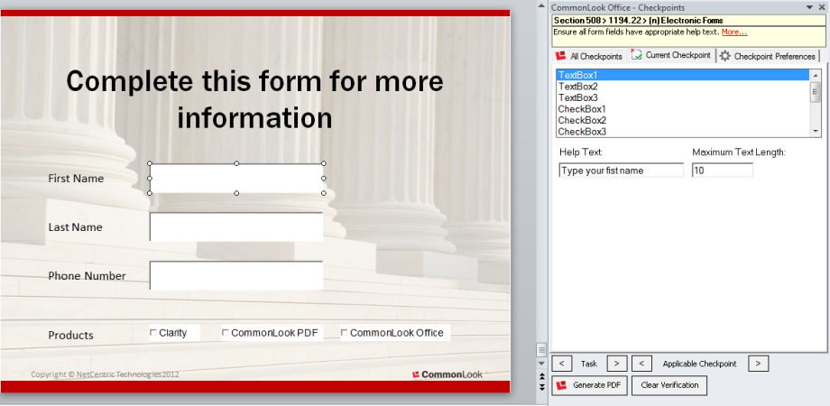 Picture showing a powerPoint slide with form fields.