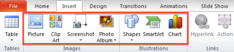 Picture of the Illustrations group which is part of the Insert tab in the PowerPoint ribbon. The Illustrations group allows the user to select one of the following types of illustrations: Pictures, Clip Arts, Shapes, Smart Art or Charts.