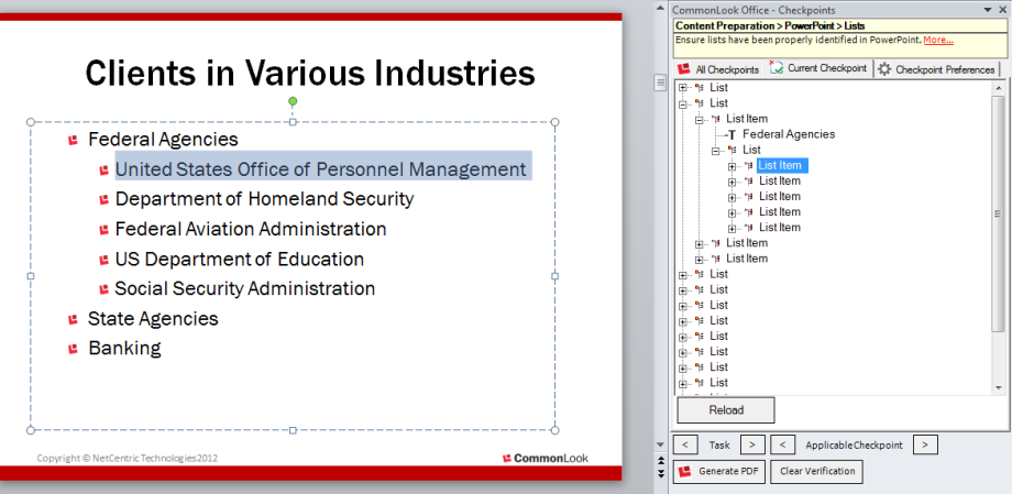 Picture of list in CommonLook Office panel and corresponding list in PowerPoint.