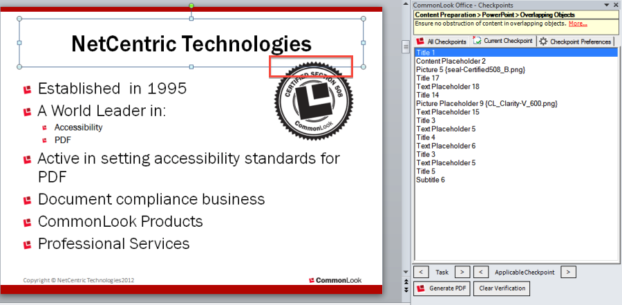 Picture of the CommonLook Office panel showing overlapping objects side by side with the PowerPoint Presentation.