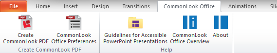 Picture of the CommonLook Office tab within the PowerPoint Ribbon including the option to Create a CommonLook PDF.