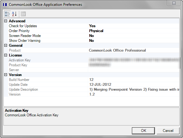 CommonLook Office Plug-In Preferences.