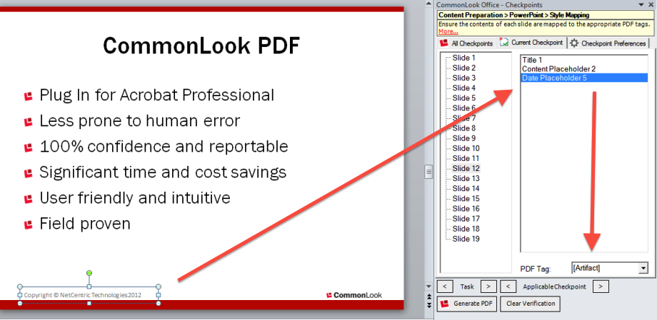 Picture of the CommonLook Office panel showing the styles used in the Word document, the locations where     they are used and the PDF taggs to which they are mapped side by side with the PowerPoint presentation.
