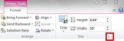The Size group which is part of the Format tab in the PowerPoint ribbon. The Size group allows the user to open the Size dialog box to change the size of the selected object or to specify alternative text.