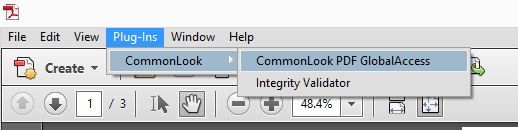 The Plug-Ins tab in Adobe Acrobat showing the option for CommonLook and Commonlook PDF GlobalAccess