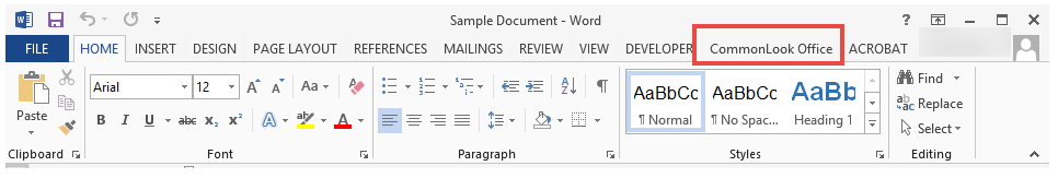 The CommonLook Office Tab in the Microsoft Word Ribbon.