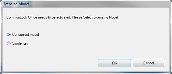 Licensing model dialog showing Concurrent Model.