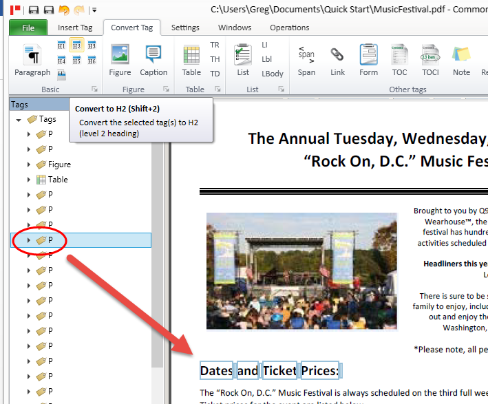 Screen shot showing a paragraph tag in the tag tree and the associated text is highlighted in the physical view of the document. The text that is selected should be converted to a heading level 2.